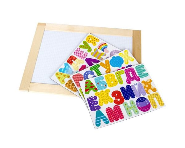 Доска двухсторонняя обучающая магнитно-маркерно-меловая «Веселая азбука» 36,5см х 26,5см (магн.буквы 50 шт) неокр.