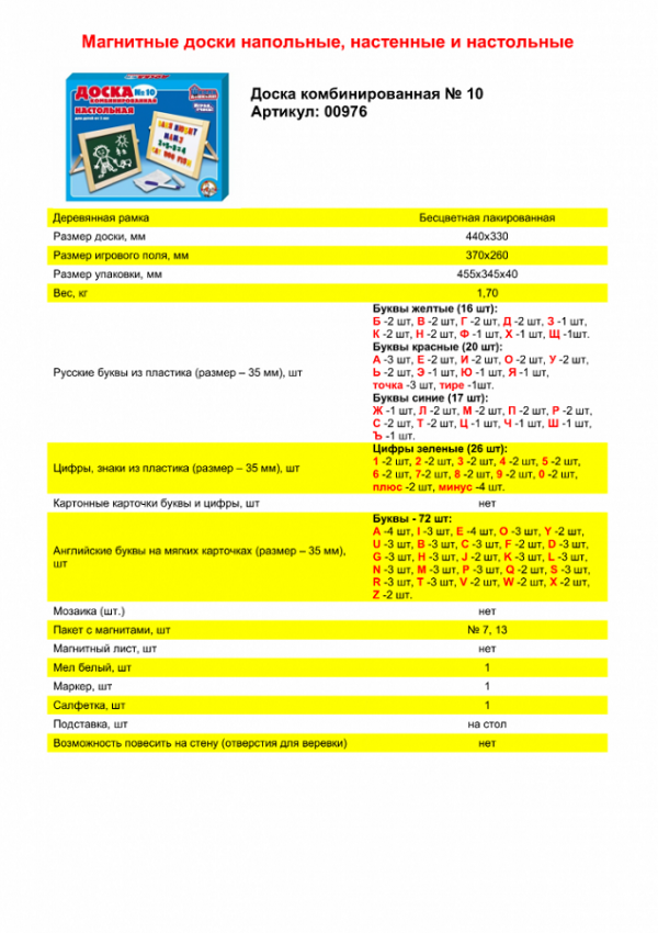 Доска комбинированная №10, настольная (рус.алф, буквы англ.алф, цифры, h35 мм) неокр.