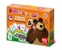 Магнитные карточки. «Учимся считать «Маша и Медведь»