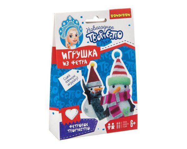 Ёлочные игрушки из фетра своими руками. Снеговички.