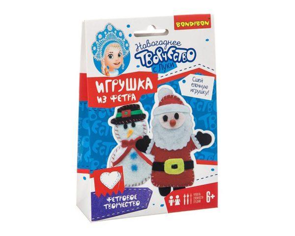 Ёлочные игрушки из фетра своими руками. Снеговичок. Дед Мороз.