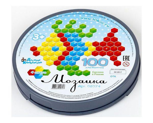 Мозаика шестигранная 100 эл (круглая пласт.коробка)