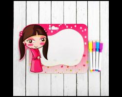 Доска для рисования «Девочка» +  маркер со стиралкой