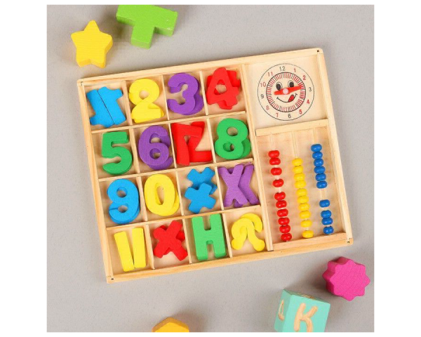 Счётный материал «Счёты, цифры и знаки» с часиками, 62 элемента