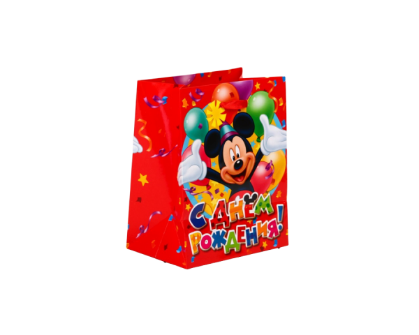 Пакет подарочный «Поздравляю с днём рождения», Микки Маус с шарами