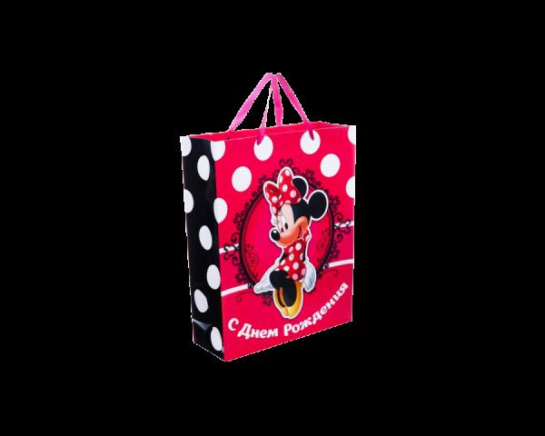Пакет подарочный «С днём рождения. Ты прекрасна», Минни Маус