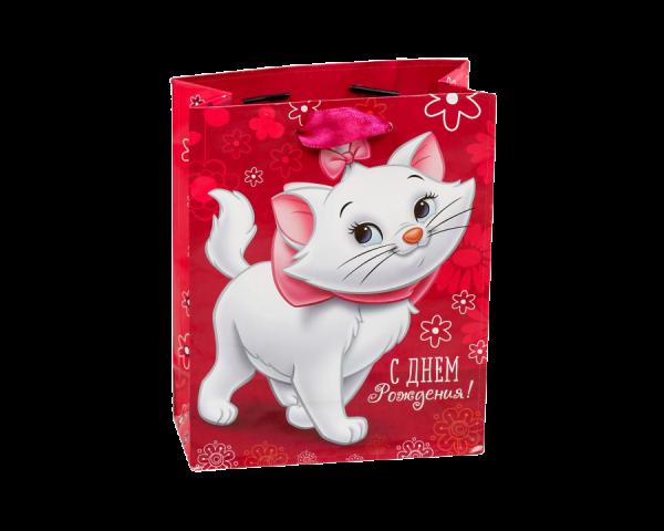 Пакет подарочный «С днём рождения», Белая кошка