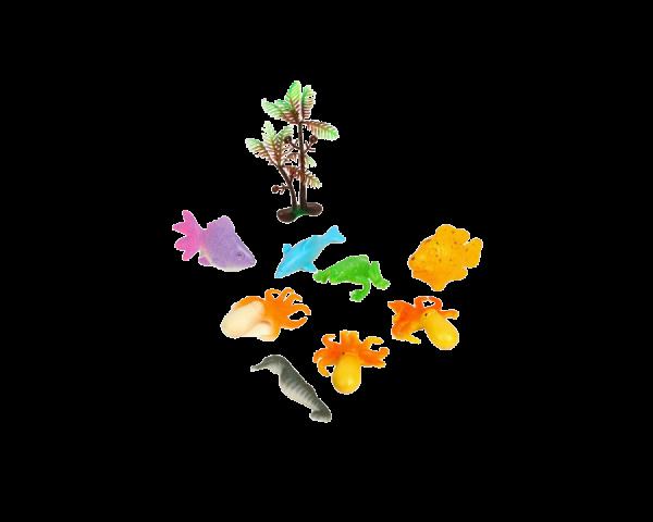 Растущие животные «Морские животные», набор 8шт + дерево