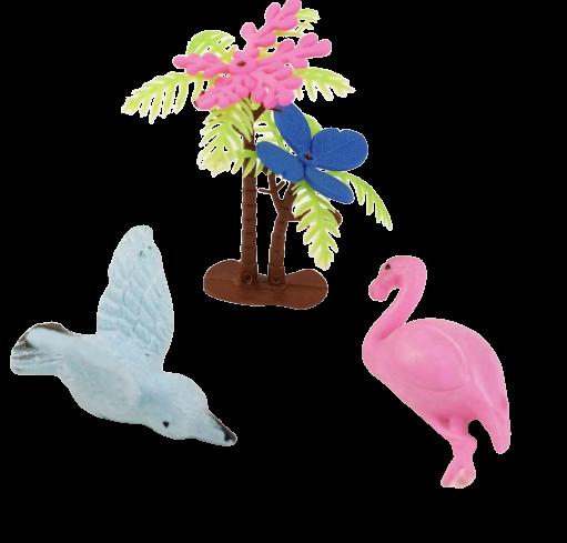 Растущие животные набор «Птички» (2 птички, 2 листика, пальма)