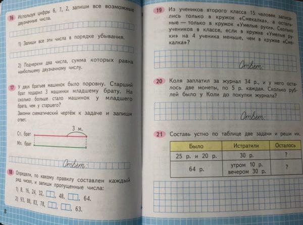 Моро. Математика. Рабочая тетрадь.  2 класс. В 2-х ч. /ШкР
