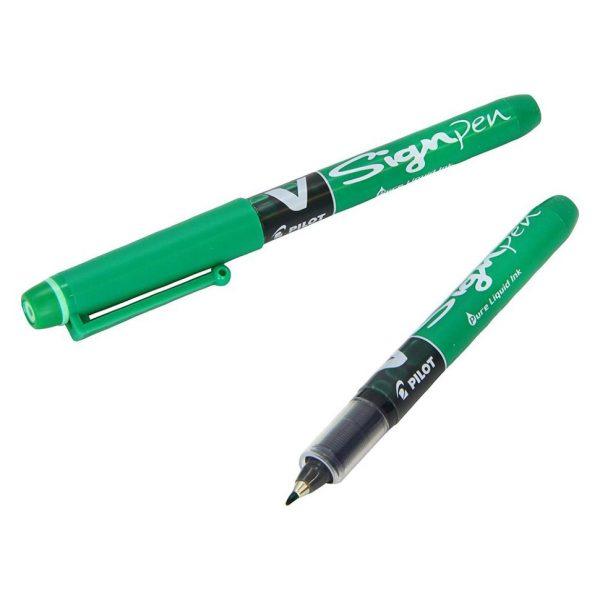 Ручка капиллярная Pilot V Sign Pen зеленая 2мм