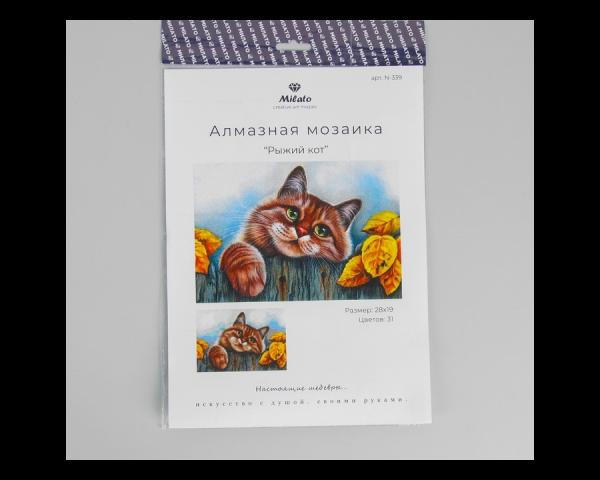 Алмазная мозаика «Рыжий кот» (28*19,5 см, 31 цвет)
