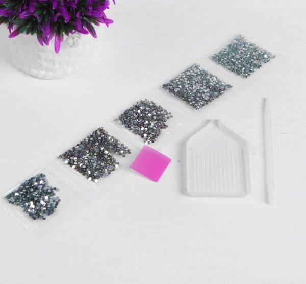 Алмазная вышивка с частичным заполнением «Снежный барс» (20*30 см)